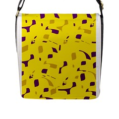 Yellow And Purple Pattern Flap Messenger Bag (l)  by Valentinaart