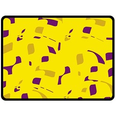 Yellow And Purple Pattern Double Sided Fleece Blanket (large)  by Valentinaart