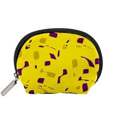 Yellow And Purple Pattern Accessory Pouches (small)  by Valentinaart