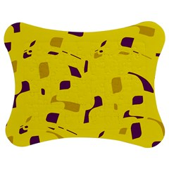 Yellow And Purple Pattern Jigsaw Puzzle Photo Stand (bow) by Valentinaart