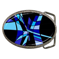 Blue Abstart Design Belt Buckles by Valentinaart