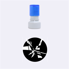 Blue Abstart Design Rubber Round Stamps (small)