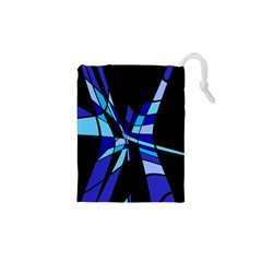 Blue Abstart Design Drawstring Pouches (xs)  by Valentinaart