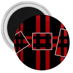 Red And Black Geometric Pattern 3  Magnets by Valentinaart