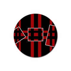 Red And Black Geometric Pattern Rubber Coaster (round)  by Valentinaart
