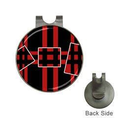 Red And Black Geometric Pattern Hat Clips With Golf Markers by Valentinaart