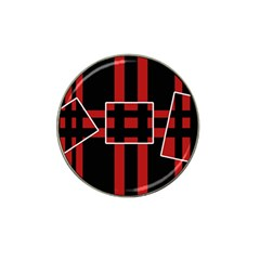 Red And Black Geometric Pattern Hat Clip Ball Marker by Valentinaart