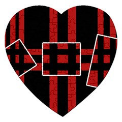 Red And Black Geometric Pattern Jigsaw Puzzle (heart) by Valentinaart