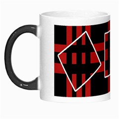 Red And Black Geometric Pattern Morph Mugs by Valentinaart