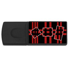 Red And Black Geometric Pattern Usb Flash Drive Rectangular (4 Gb)  by Valentinaart