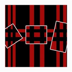 Red And Black Geometric Pattern Medium Glasses Cloth (2 Side) by Valentinaart