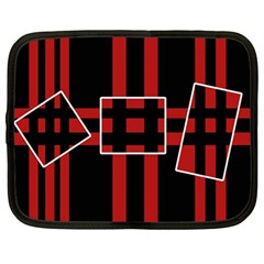Red And Black Geometric Pattern Netbook Case (large) by Valentinaart