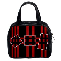 Red And Black Geometric Pattern Classic Handbags (2 Sides) by Valentinaart