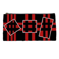 Red And Black Geometric Pattern Pencil Cases by Valentinaart