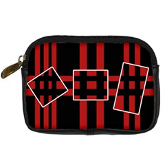 Red And Black Geometric Pattern Digital Camera Cases by Valentinaart