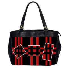 Red And Black Geometric Pattern Office Handbags (2 Sides)  by Valentinaart