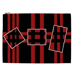 Red And Black Geometric Pattern Cosmetic Bag (xxl)  by Valentinaart