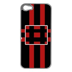 Red And Black Geometric Pattern Apple Iphone 5 Case (silver) by Valentinaart