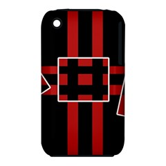 Red And Black Geometric Pattern Apple Iphone 3g/3gs Hardshell Case (pc+silicone) by Valentinaart
