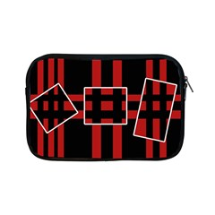 Red And Black Geometric Pattern Apple Ipad Mini Zipper Cases by Valentinaart