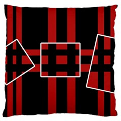 Red And Black Geometric Pattern Large Flano Cushion Case (two Sides) by Valentinaart