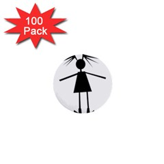 Teenage Girl 1  Mini Buttons (100 Pack)  by Valentinaart