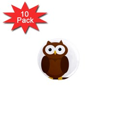 Cute Transparent Brown Owl 1  Mini Magnet (10 Pack)  by Valentinaart