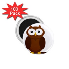 Cute Transparent Brown Owl 1 75  Magnets (100 Pack)  by Valentinaart