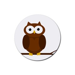 Cute Transparent Brown Owl Rubber Coaster (round)  by Valentinaart
