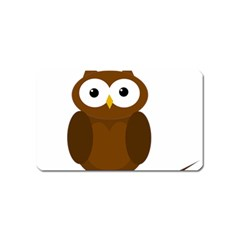 Cute Transparent Brown Owl Magnet (name Card) by Valentinaart