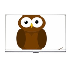 Cute Transparent Brown Owl Business Card Holders by Valentinaart