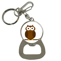 Cute Transparent Brown Owl Bottle Opener Key Chains by Valentinaart