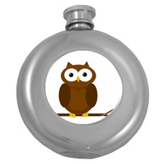 Cute Transparent Brown Owl Round Hip Flask (5 Oz) by Valentinaart