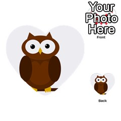Cute Transparent Brown Owl Multi Purpose Cards (heart)  by Valentinaart