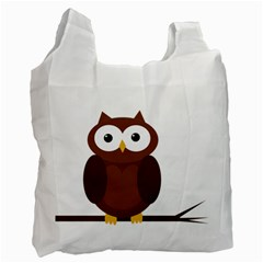 Cute Transparent Brown Owl Recycle Bag (two Side)  by Valentinaart