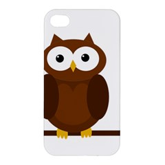 Cute Transparent Brown Owl Apple Iphone 4/4s Premium Hardshell Case by Valentinaart