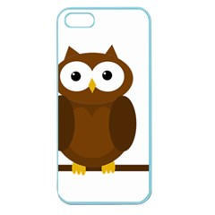 Cute Transparent Brown Owl Apple Seamless Iphone 5 Case (color) by Valentinaart
