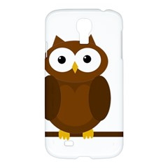 Cute Transparent Brown Owl Samsung Galaxy S4 I9500/i9505 Hardshell Case by Valentinaart