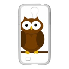 Cute Transparent Brown Owl Samsung Galaxy S4 I9500/ I9505 Case (white) by Valentinaart