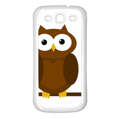 Cute Transparent Brown Owl Samsung Galaxy S3 Back Case (white) by Valentinaart