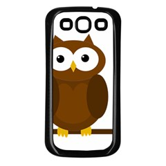 Cute Transparent Brown Owl Samsung Galaxy S3 Back Case (black) by Valentinaart