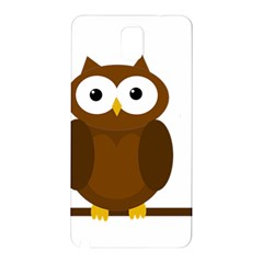 Cute Transparent Brown Owl Samsung Galaxy Note 3 N9005 Hardshell Back Case by Valentinaart
