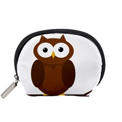 Cute Transparent Brown Owl Accessory Pouches (small)  by Valentinaart
