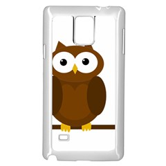 Cute Transparent Brown Owl Samsung Galaxy Note 4 Case (white) by Valentinaart