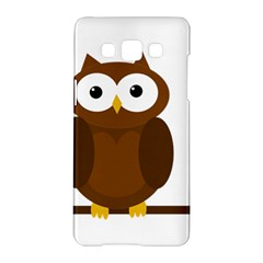 Cute Transparent Brown Owl Samsung Galaxy A5 Hardshell Case  by Valentinaart