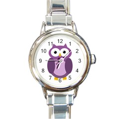 Purple Transparetn Owl Round Italian Charm Watch by Valentinaart