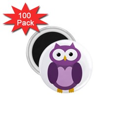Purple Transparetn Owl 1 75  Magnets (100 Pack)  by Valentinaart