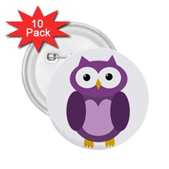 Purple Transparetn Owl 2 25  Buttons (10 Pack)  by Valentinaart