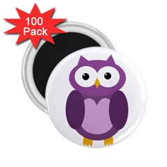 Purple Transparetn Owl 2 25  Magnets (100 Pack)  by Valentinaart
