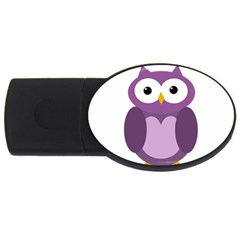 Purple Transparetn Owl Usb Flash Drive Oval (2 Gb)  by Valentinaart